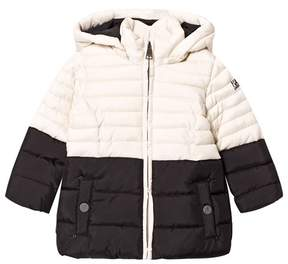 Karl Lagerfeld Black and Cream Puffer Coat with Faux Fur Hood