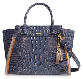 Brahmin Andesite Lucca Priscilla Leather Satchel - Blue
