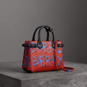 Burberry The Small Banner in Graffiti Print Leather