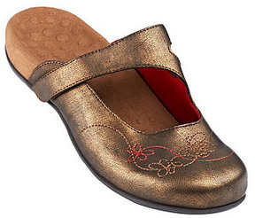 Vionic As Is Orthotic Mules w/ Floral Stitch Detail - Jane