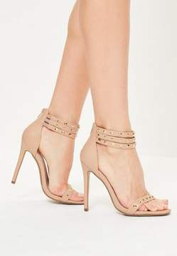 Missguided Nude 3 Strap Studded Heeled Sandals