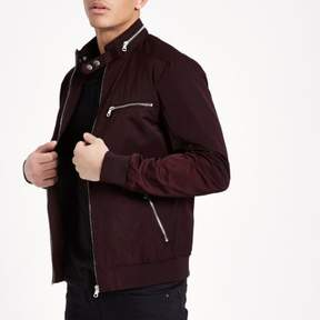 River Island Mens Burgundy racer neck lightweight jacket