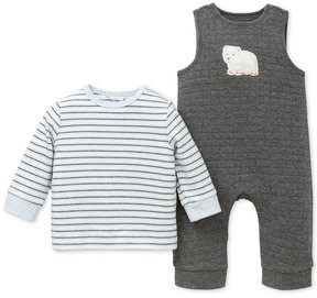 Little Me 2-Pc. Striped T-Shirt & Bear Overalls Set, Baby Boys (0-24 months)