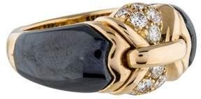 Bvlgari 18K Vintage Diamond and Hematite Ring