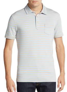 Saks Fifth Avenue BLACK Slim-Fit Striped Pima Cotton Polo Shirt