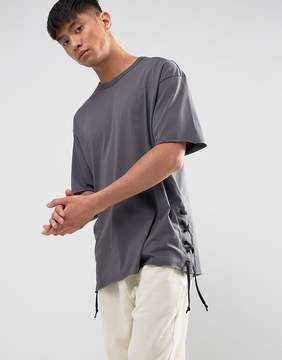 New Look T-Shirt With Lace Sides In Gray