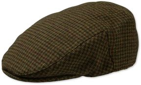 Charles Tyrwhitt Olive Check Flat Cap Wool Hat Size Medium