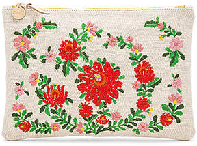 Clare Vivier Mexican Embroidered Flat Clutch