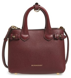 Burberry 'Mini Banner' House Check Leather Tote - Red - RED - STYLE
