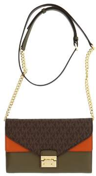 Michael Kors Sloan Large Leather - Wallet-on-chain - Brown/Olive/Orange - 32F7GSLF3B-285