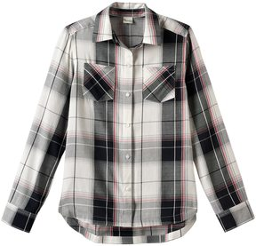 Mudd Girls 7-16 Curved Hem Plaid Button-Down Shirt