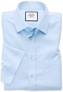 Charles Tyrwhitt Slim Fit Non-Iron Poplin Short Sleeve Sky Cotton Dress Shirt Size 14.5/Short