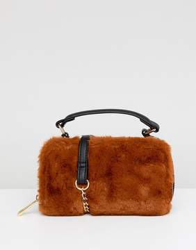 Asos DESIGN mini camera bag with faux fur detail