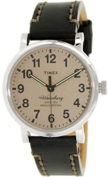 Timex Men's Waterbury TW2P58800 Black Leather Analog Quartz Fashion Watch