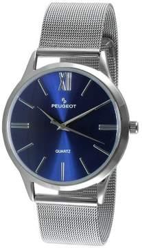 Peugeot Watches Men's Round Slim Stainless Steel Mesh Bracelet Watch - Blue