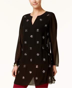 Alfani Embellished Split-Neck Tunic, Created for Macy's