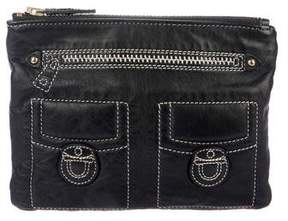 Marc Jacobs Embroidered Leather Zip Clutch