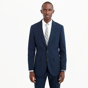 J.Crew Ludlow wide-lapel suit jacket in black Japanese seersucker