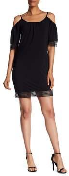 ABS by Allen Schwartz Cold Shoulder Crochet Knit Dress