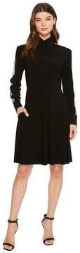 Norma Kamali KAMALIKULTURE by Side Stripe Shirt Flared Dress To Knee Women's Dress