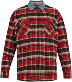Fear Of God Contrast-collar checked cotton-flannel shirt