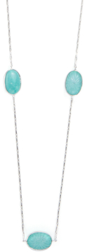 Elizabeth Showers Women's Long Silver, White Sapphire & Turquoise Station Chain Necklace