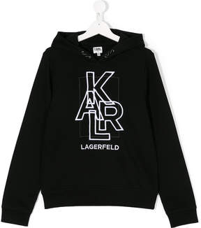 Karl Lagerfeld TEEN embroidered logo hoodie
