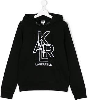 Karl Lagerfeld TEEN embroidered logo hoodie