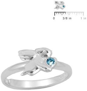 Ice Silver March Birthstone Angel Adjustable RIng for Girls (Size 3 to 7)