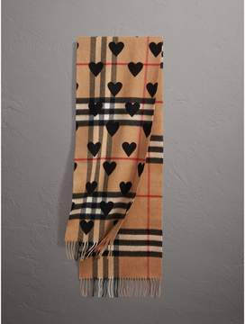 Burberry The Classic Cashmere Scarf in Check and Hearts