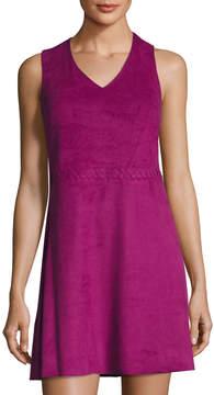 Cynthia Steffe Jewel Sleeveless Faux-Suede Dress, Purple