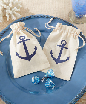Muslin Anchor Favor Bag - Set of 12