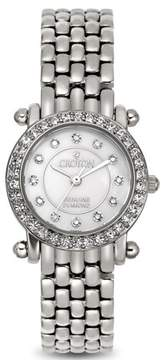 Croton Ladies Silvertone Quartz Watch with Mother of Pearl Dial & Diamond Markers