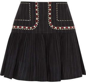 Etoile Isabel Marant Jessie Embroidered Pinstriped Linen Mini Skirt - Navy