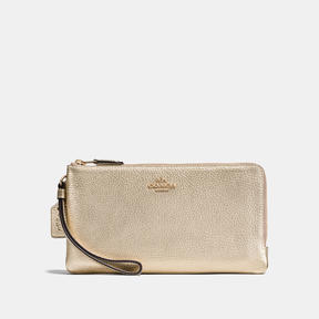COACH Coach Double Zip Wallet - LIGHT GOLD/PLATINUM - STYLE