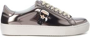 Karl Lagerfeld Silver Leather Sneaker