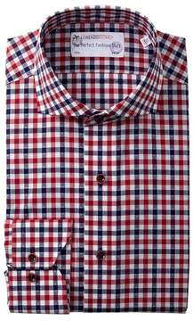 Lorenzo Uomo Diamond Dot Gingham Trim Fit Dress Shirt