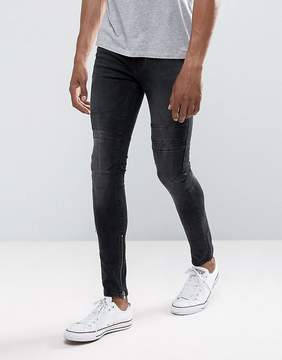New Look Skinny Jeans With Rips And Zip Hem In Washed Black