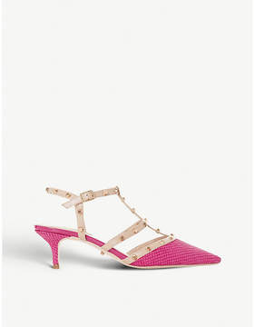 Dune Casterly studded reptile-embossed leather heeled courts