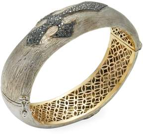 Artisan Women's Black Diamond Cross Oval Bangle Bracelet