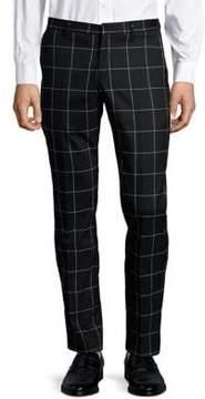 Selected Windowpane-Print Pants