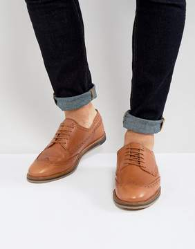 Asos Brogue Shoes In Tan Leather With Wedge Sole