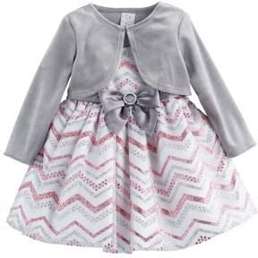Youngland Baby Girl Glittery Chevron Dress & Velvet Shrug Set