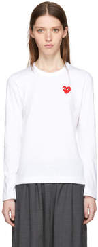 Comme des Garcons White and Red Long Sleeve Heart Patch T-Shirt