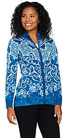 Bob Mackie Bob Mackie's Printed Zip Front Sweater KnitCardigan