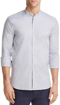 HUGO Eddison Heathered Regular Fit Band Collar Button-Down Shirt