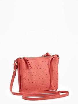 Dual-Zip Laser-Dot Crossbody Bag for Women