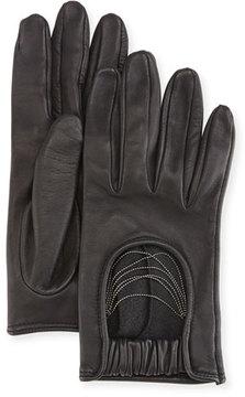 Brunello Cucinelli Napa Leather Biker Gloves with Monili Strands, Black