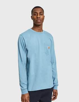 Carhartt Wip L/S Pocket T-Shirt in Dusty Blue