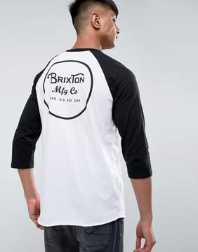 Brixton 3/4 Sleeve Raglan T-Shirt With Back Logo